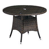 Table ronde en tressage marron Ø 110 cm CLOVA - Lot de 2