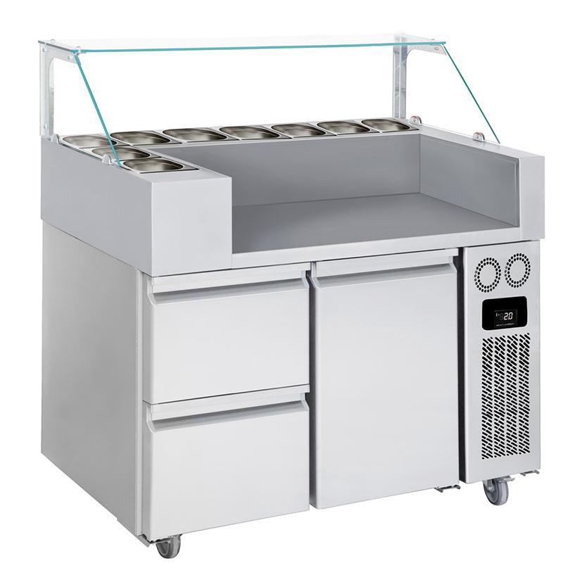 Meuble chariot réfrigéré pour crêpes, gaufres 1 porte, 2 tiroirs QDM